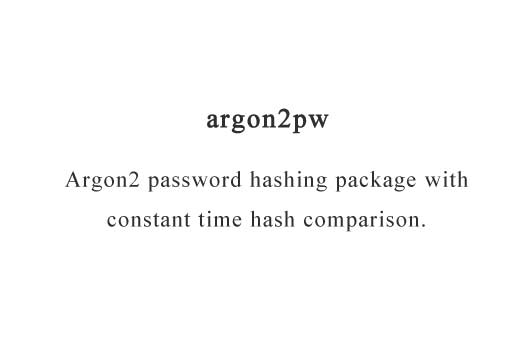 Argon2 password hash generation with constant-time password comparison